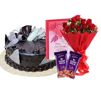 Chocolate Cream Cake, Bouquet, Silk & Card