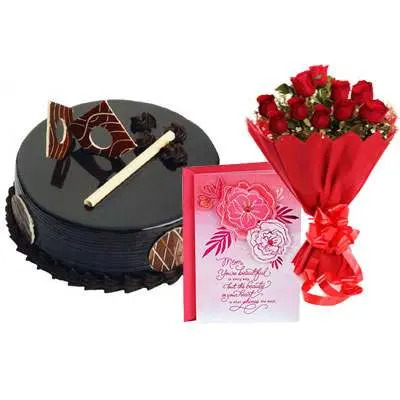 Chocolate Royal Cake, Bouquet & Card