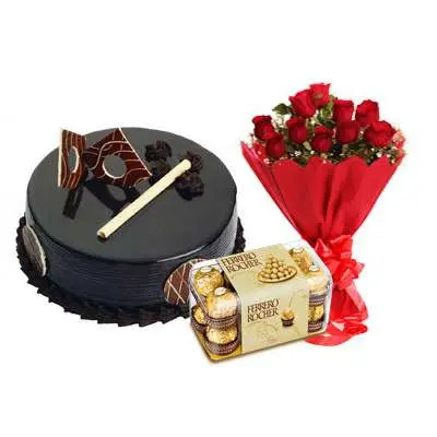 Chocolate Royal Cake, Bouquet & Ferrero