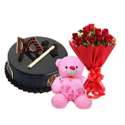 Chocolate Royal Cake, Bouquet & Teddy