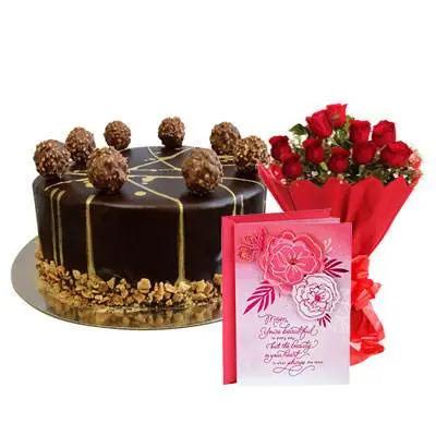 Ferrero Rocher Chocolate Cake, Bouquet & Card