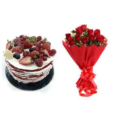 Red Velvet Fruit Cake & Bouquet