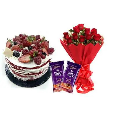 Red Velvet Fruit Cake, Bouquet & Silk