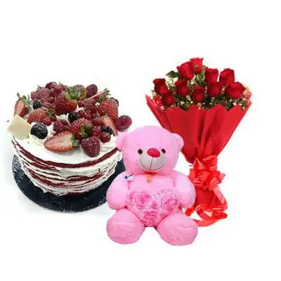 Red Velvet Fruit Cake, Bouquet & Teddy