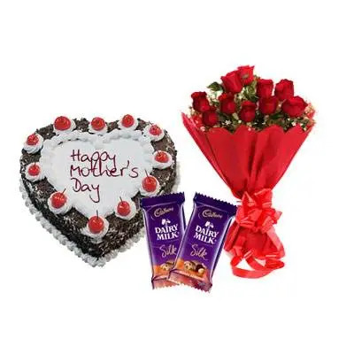Heart Shape Black Forest Cake, Bouquet & Silk