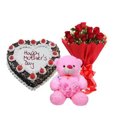 Heart Shape Black Forest Cake, Bouquet & Teddy