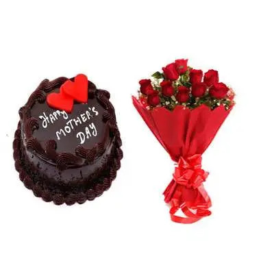 Mothers Day Chocolate Cake & Bouquet