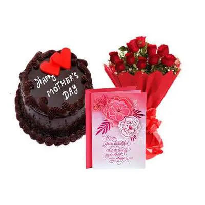 Mothers Day Chocolate Cake, Bouquet & Card