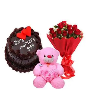 Mothers Day Chocolate Cake, Bouquet & Teddy