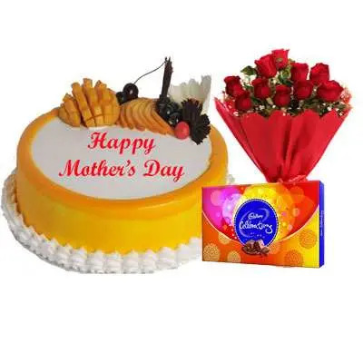 Mothers Day Mango Cake, Bouquet & Cadbury