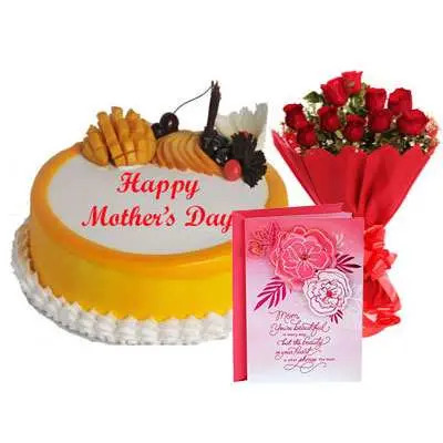 Mothers Day Mango Cake, Bouquet & Card