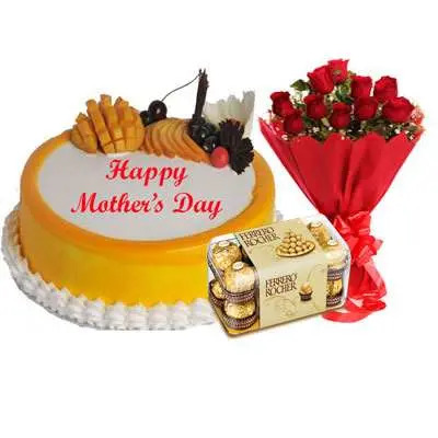 Mothers Day Mango Cake, Bouquet & Ferrero