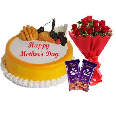 Mothers Day Mango Cake, Bouquet & Silk