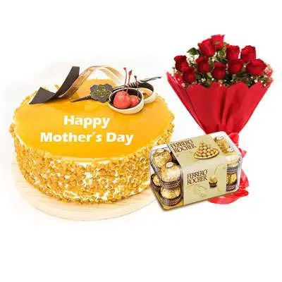 Mothers Day Butterscotch Cream Cake, Bouquet & Ferrero