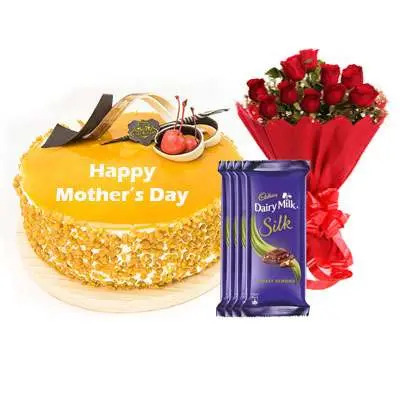 Mothers Day Butterscotch Cream Cake, Bouquet & Silk