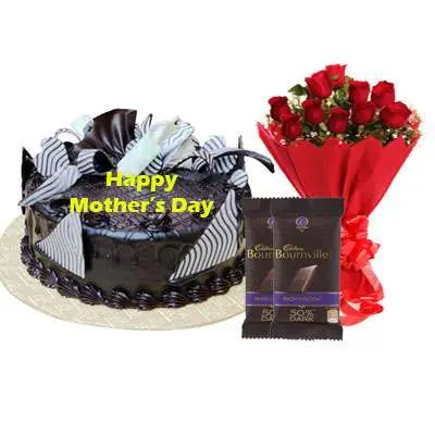 Mothers Day Chocolate Cream Cake, Bouquet & Bournville