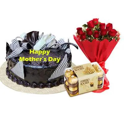 Mothers Day Chocolate Cream Cake, Bouquet & Ferrero