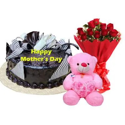 Mothers Day Chocolate Cream Cake, Bouquet & Teddy