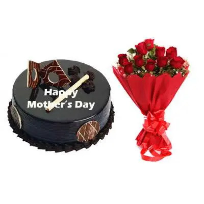 Mothers Day Chocolate Royal Cake & Bouquet