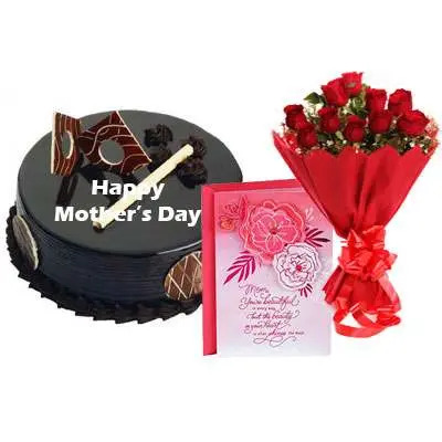 Mothers Day Chocolate Royal Cake, Bouquet & Card