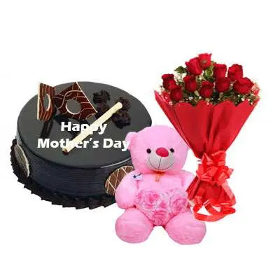 Mothers Day Chocolate Royal Cake, Bouquet & Teddy