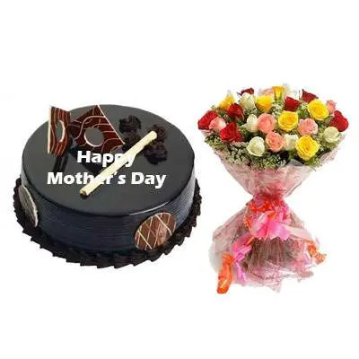 Mothers Day Chocolate Royal Cake & Mix Bouquet