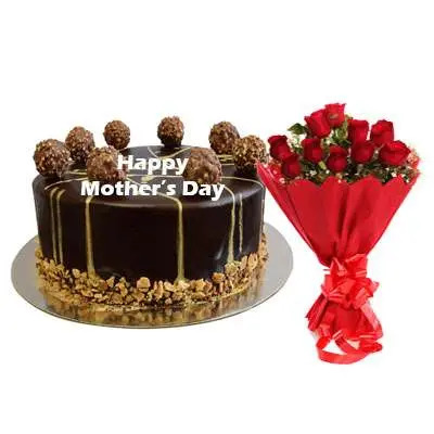 Mothers Day Ferrero Rocher Chocolate Cake & Bouquet