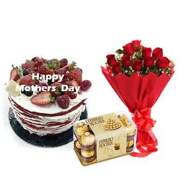 Mothers Day Red Velvet Fruit Cake, Bouquet & Ferrero