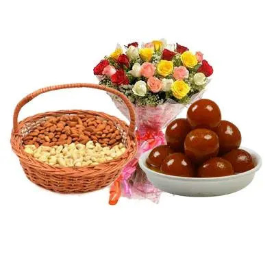 Almonds, Cashew, Gulab Jamun & Mix Roses