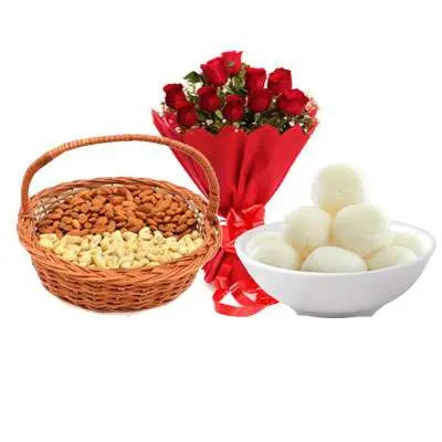 Almonds, Cashew, Rasgulla & Bouquet