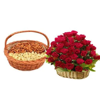 Almonds, Cashew & Red Roses Basket