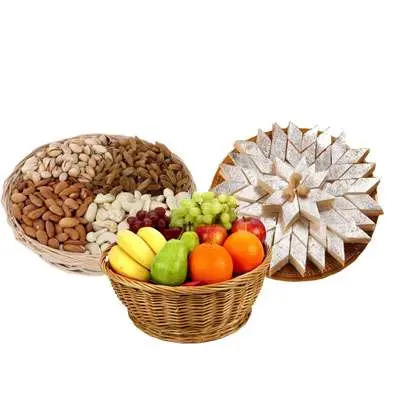 Mixed Dry Fruits, Fruit Basket & Kaju Katli