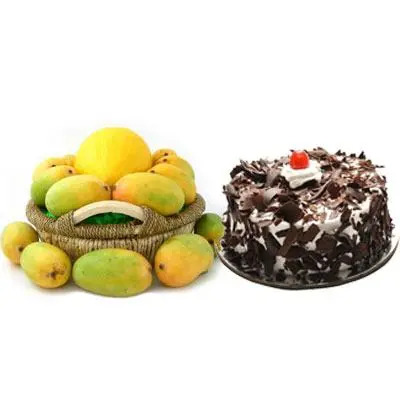Mango Basket with Black Forest Cake