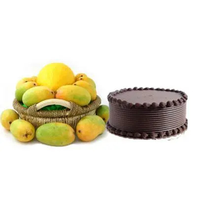 Mango Basket with Chocolate Cake