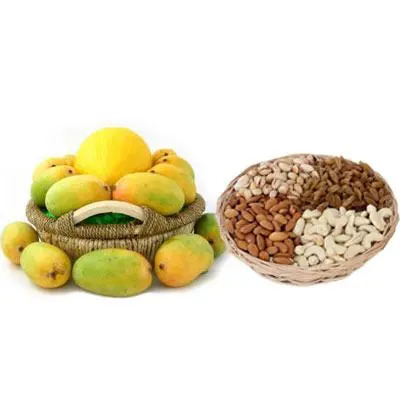 Mango Basket with Mix Dry Fruits