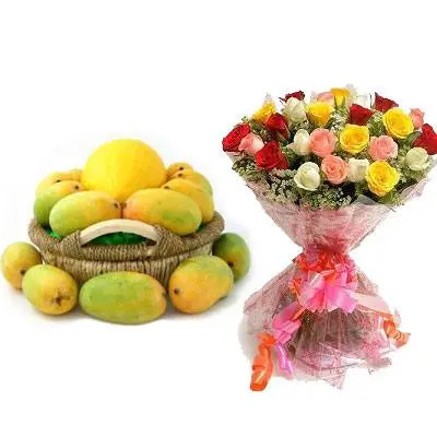 Mango Basket with Mix Rose Bouquet