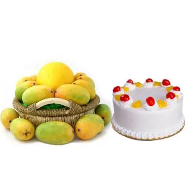 Mango Basket with Pineapple Cake