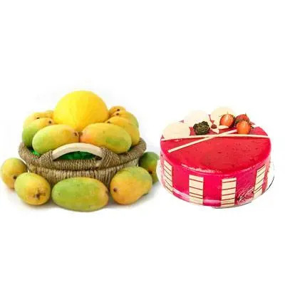 Mango Basket with Strawberry Cake