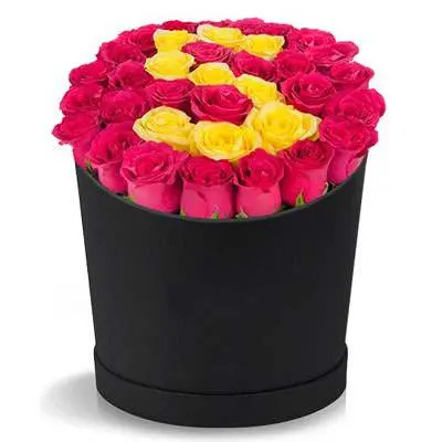 Red & Yellow Roses in Box