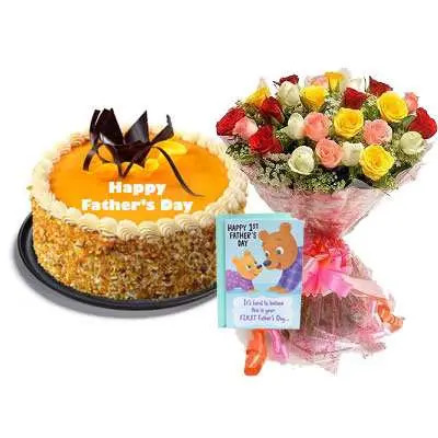 Fathers Day Butter Scotch Cake, Bouquet & Card