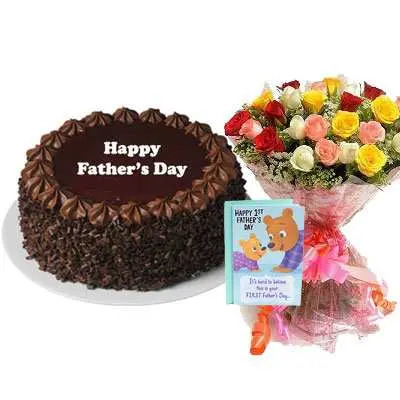 Fathers Day Chocolate Cake, Bouquet & Card