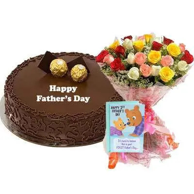 Fathers Day Ferrero Rocher Cake, Bouquet & Card