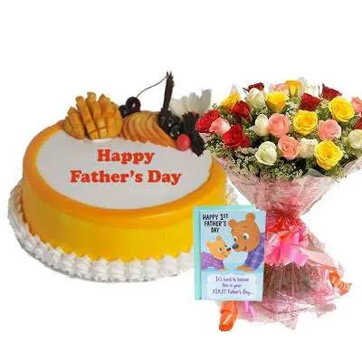 Fathers Day Mango Cake, Bouquet & Card