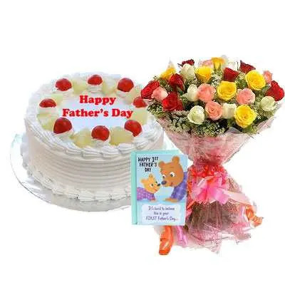 Fathers Day Pineapple Cake, Bouquet & Card