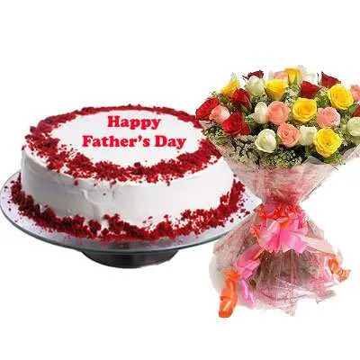 Fathers Day Red Velvet Cake & Bouquet