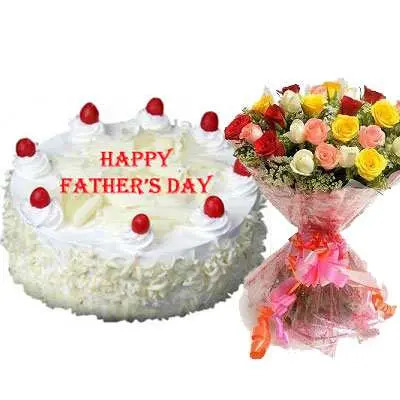 Fathers Day White Forest Cake & Bouquet