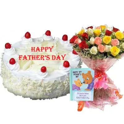 Fathers Day White Forest Cake, Bouquet & Card