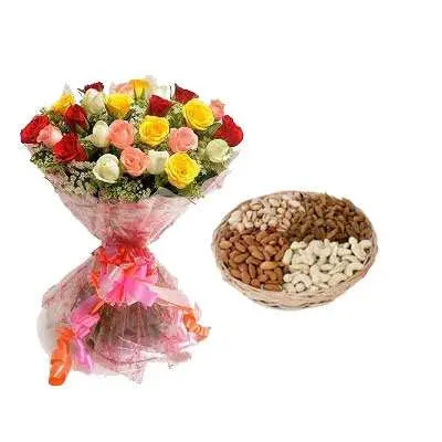 Mix Roses with Mix Dry Fruits