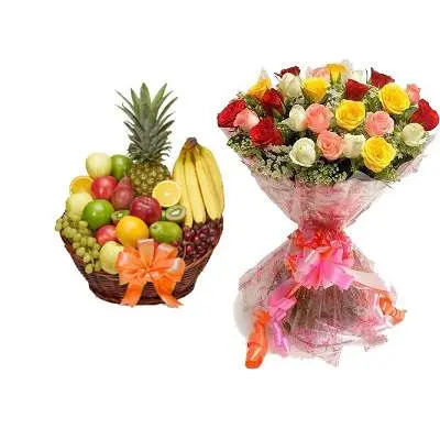 Fruit Basket & Bouquet