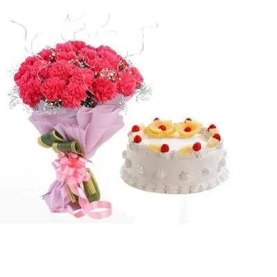 Pink Carnation & Pineapple Cake